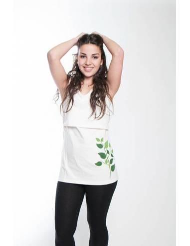 Camiseta sin mangas hojas